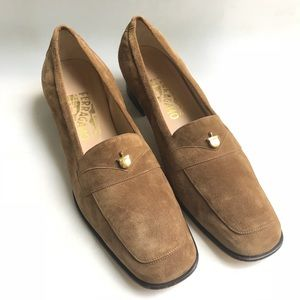 Ferragamo Soft Suede Leather Loafers 9AA